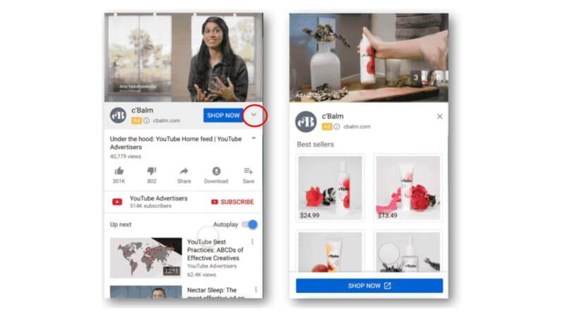 Youtube brings products to YouTube for action ads