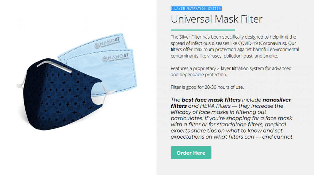 Face Cloth Mask With Colloidal Silver Filters